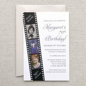 Film Strip birthday invitation colour design